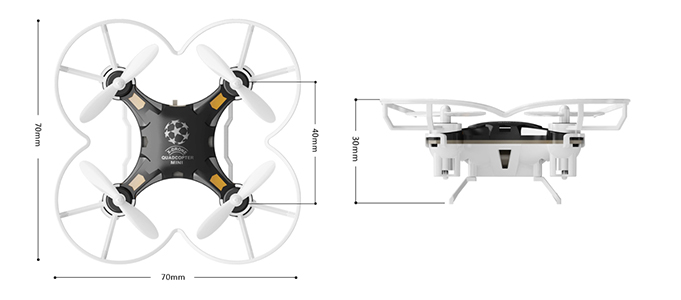FQ777-124 Pocket Drone Quadcopter Dimensions