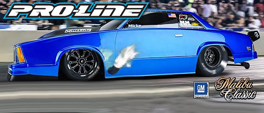 PROLINE CHEVROLET MALIBU CLEAR DRAG CAR BODY FOR SLASH/DR10