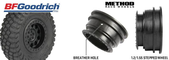 Axial 1.2/1.55 Method Beadlock Style Wheels and 1.2/1.55 BFGoodrich Baja T/A KR2 Tires