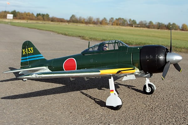 FMS Mitsubishi A6M Zero 1400 Series ARTF Electric Warbird with Retract Landing Gear & Flaps