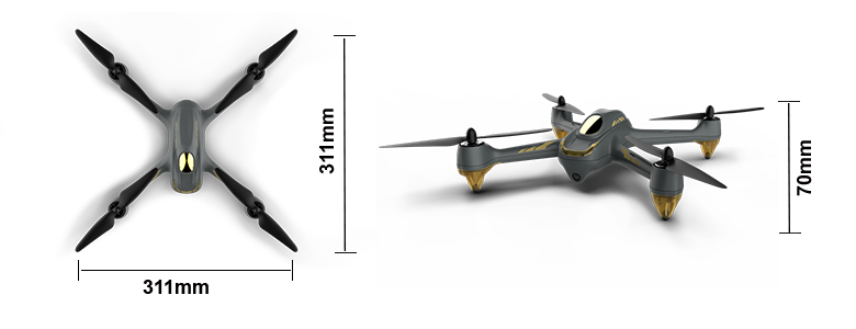 H501M Quadcopter Dimensions
