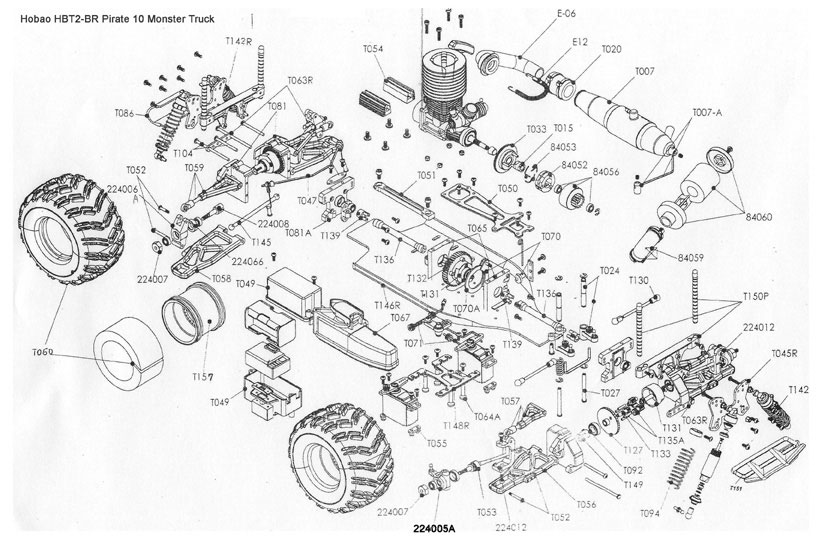hobao pirate 10 monster 1:10th scale rtr #hbt2-br exploded diagram of engine #13
