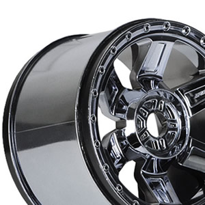 "Desperado 3.8"" (Traxxas Style Bead) Black Chrome 17mm Wheels Zero Offset"