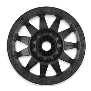 F-11 3.8 (Traxxas Style Bead) Black 1/2in Offset 17mm Wheels for MT Front or Rear