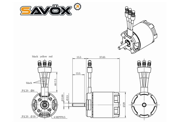 savox outrunner bsm2940 3500kv motor  250  450   sav