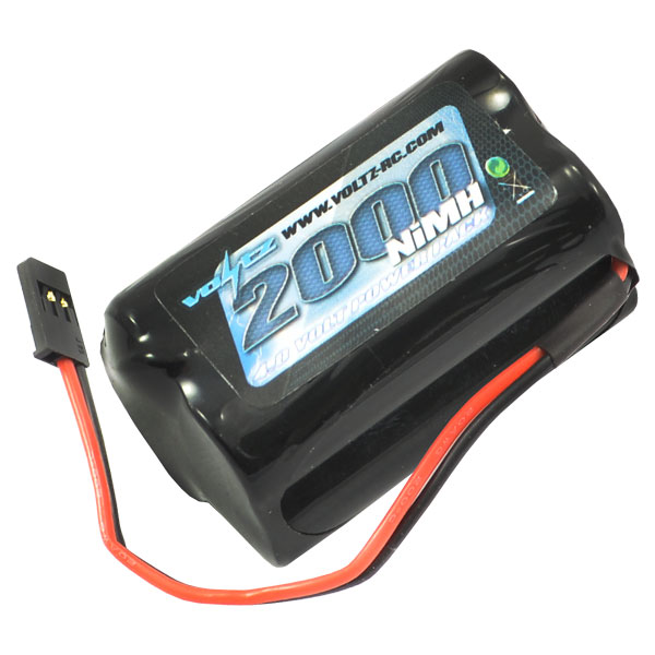 2000mAh 4.8v NiMH Square Receiver Pack Battery with Connector