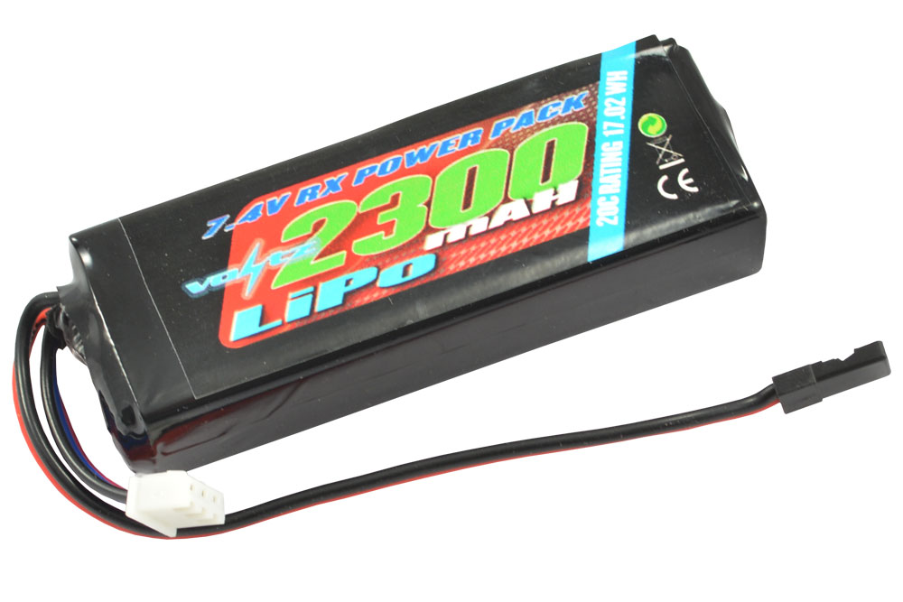 Voltz 2300mAh 2S 7.4v LiPo RX Stick Battery Pack